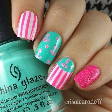 Cute Anchors nail art by Cristina Alvarado