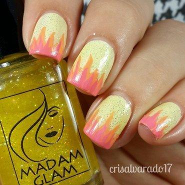 Pastel flame nail art by Cristina Alvarado