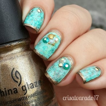 Beach themed nails nail art by Cristina Alvarado