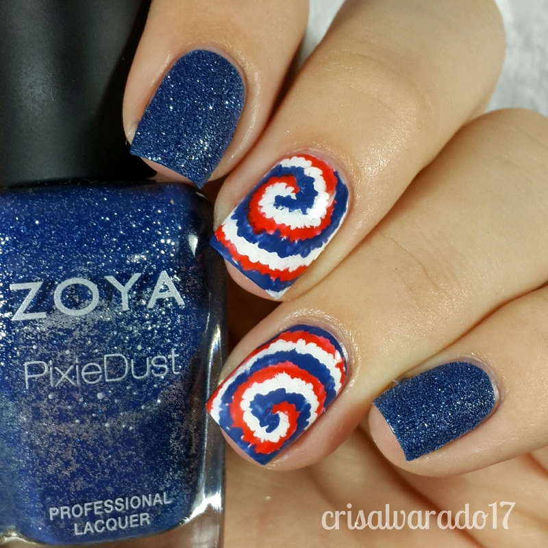 Red White Blue Tiedye Nail Art By Cristina Alvarado Nailpolis