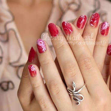 Nail art fleurs one stroke nail art by Cherry Nail art
