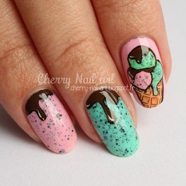 Nail art ice cream nail art by Cherry Nail art
