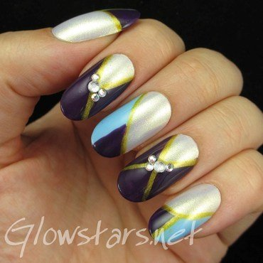 Colour blocking and rhinestones nail art by Vic 'Glowstars' Pires