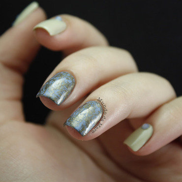 Metallic Saran Wrap nail art by Mare