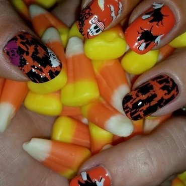 happy witchaween  nail art by April Dolan