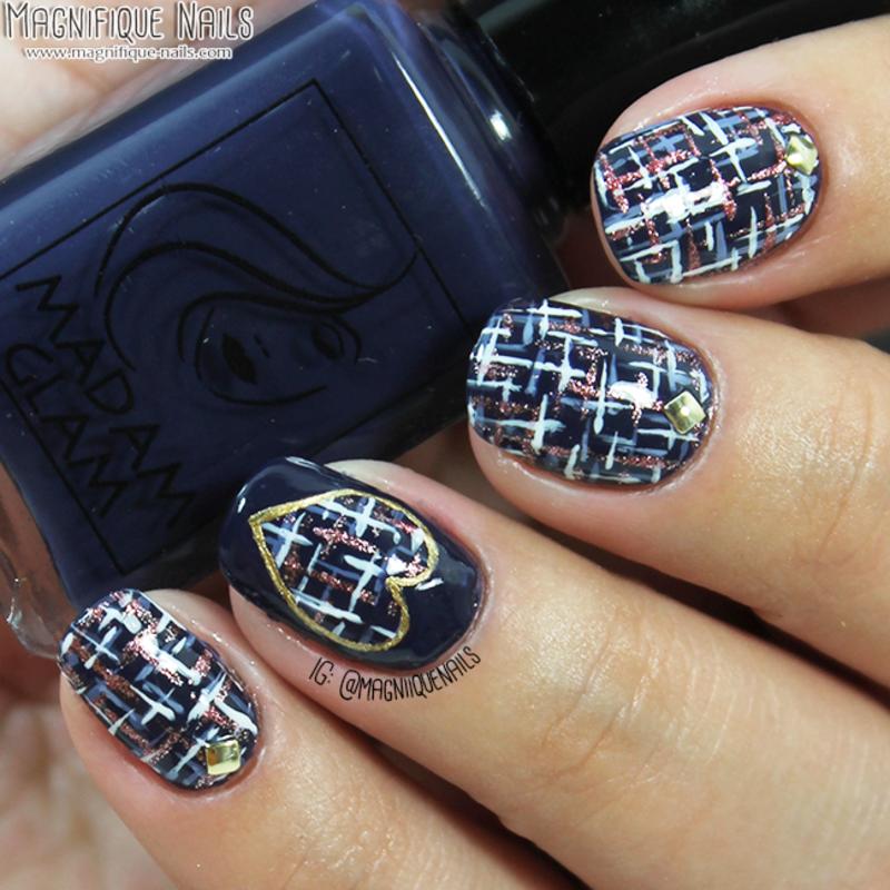 Tweed Nails nail art by Ana