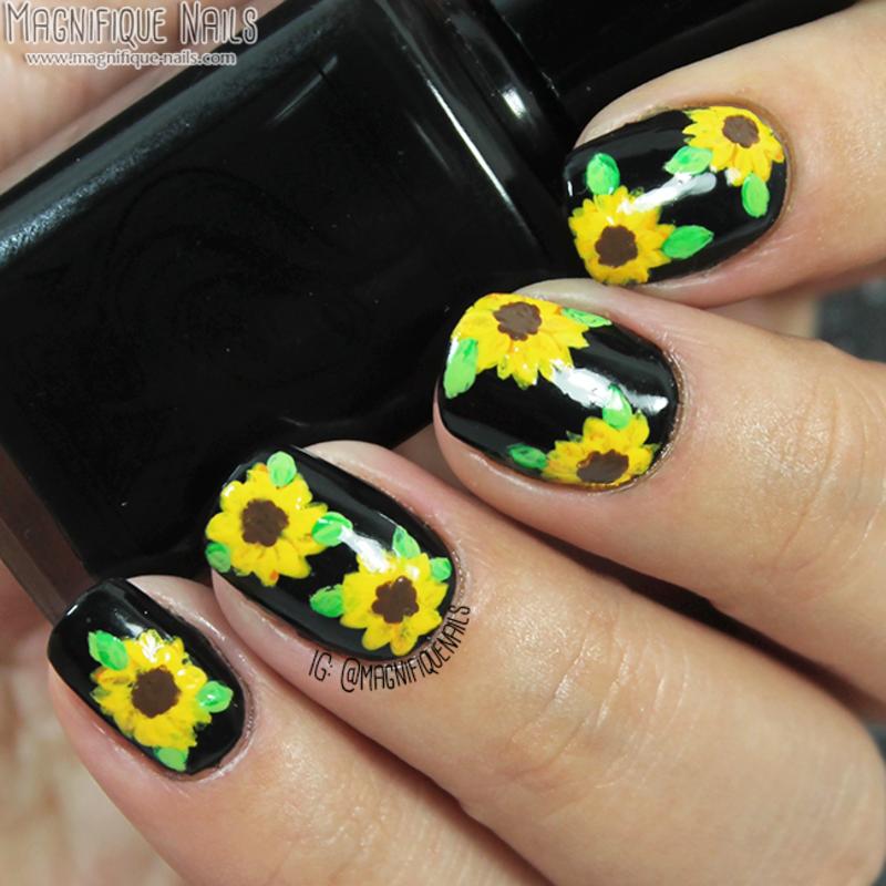 Sunflower Nails nail art by Ana