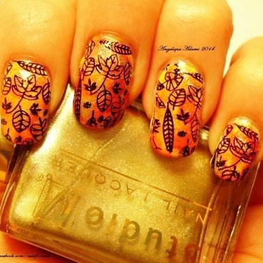 Fall leaves  nail art by Angelique Adams