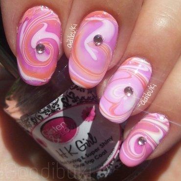 Peachy Swirl Watermarble nail art by Adi Buki