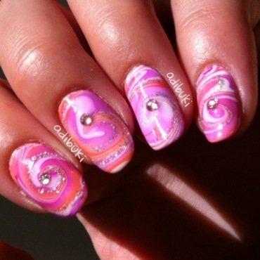 Peachy Swirl Watermarble - With Glitter nail art by Adi Buki