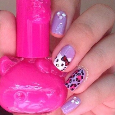 Hello Kitty and Purple Leopard Print nail art by ℐustine