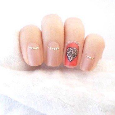 Leopard print heart + half moon nails nail art by Cute Nialls