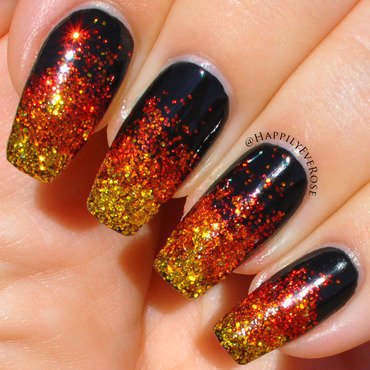 Fire Glitter nail art by HappilyEver Rose