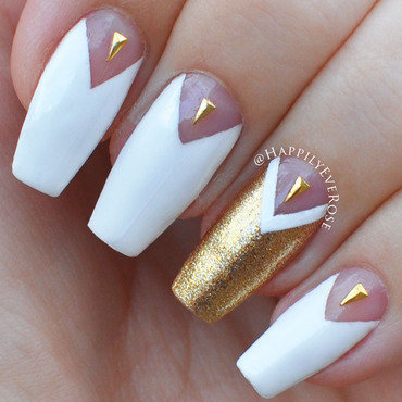 Chevron Half Moon nail art by HappilyEver Rose