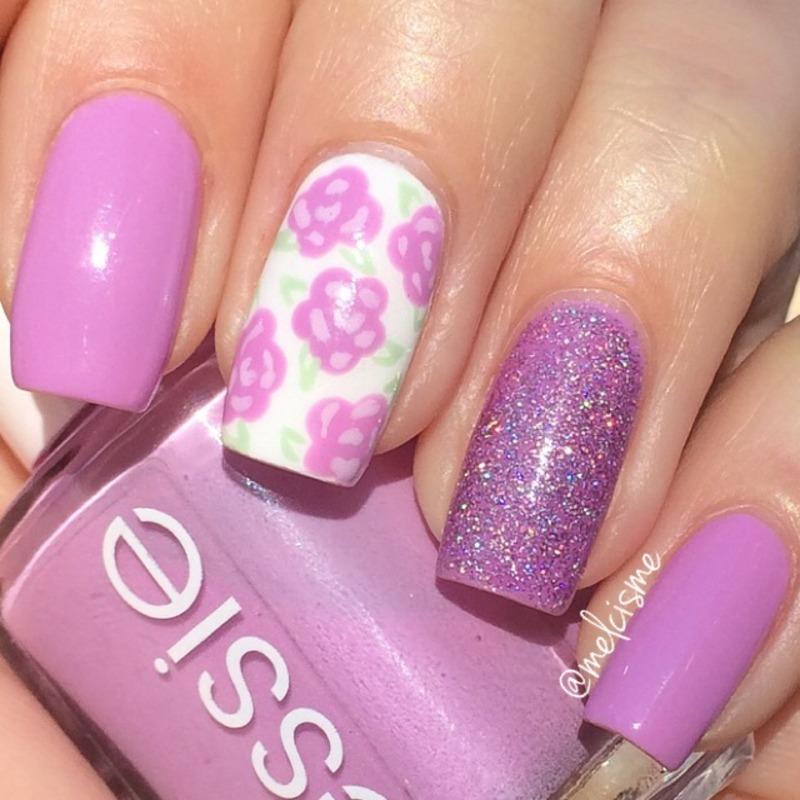 Roses  nail art by Melissa