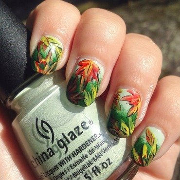 Fall Leaves nail art by Niki My Oh My Nails