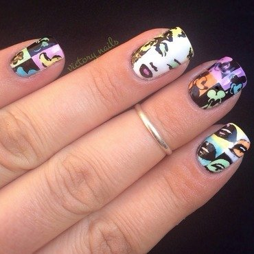 Andy Warhol - pop art (technicolour) nail art by Nicole