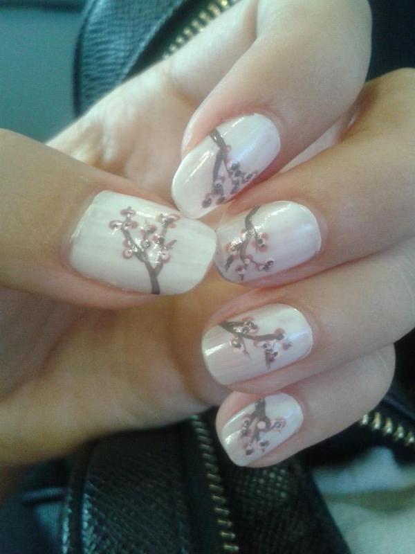 Cherry Blossom nail art by Bat-Chen