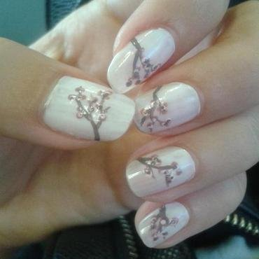 Cherry Blossom nail art by Bat-Chen