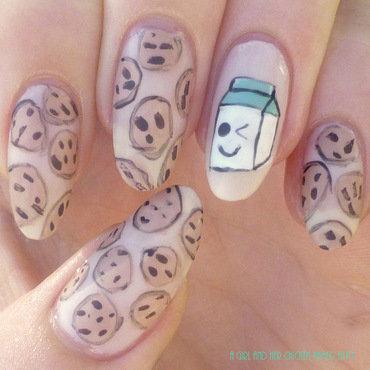 No use crying over spilt milk nail art by girlchickbetty