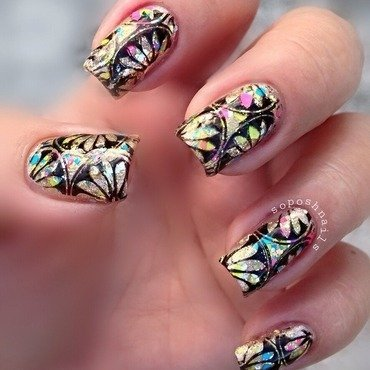 Lotus Flowers and Glitter nail art by Debbie