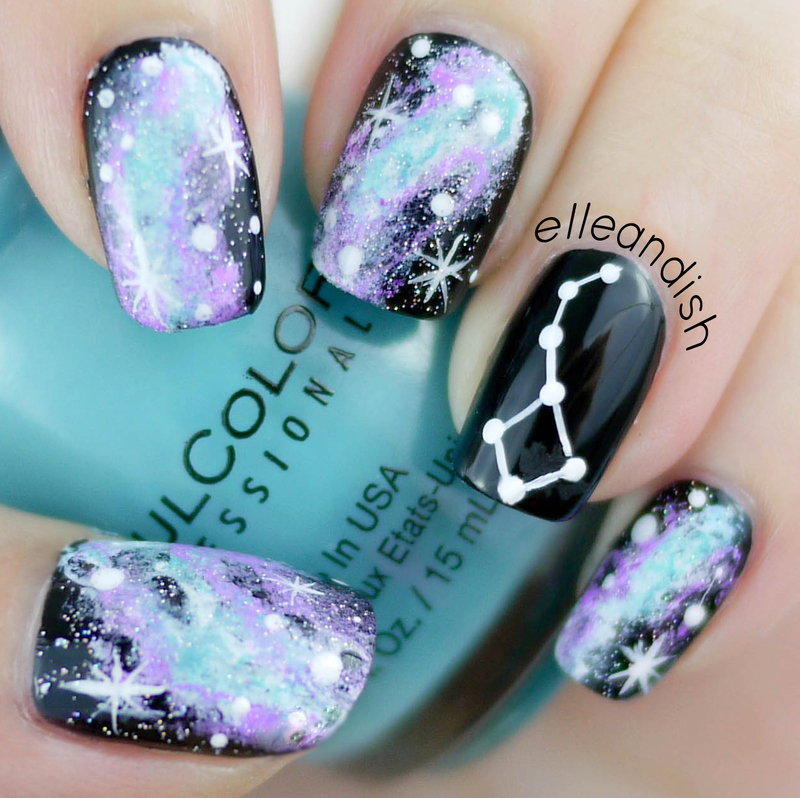 Galaxy Constellation Nails nail art by elleandish