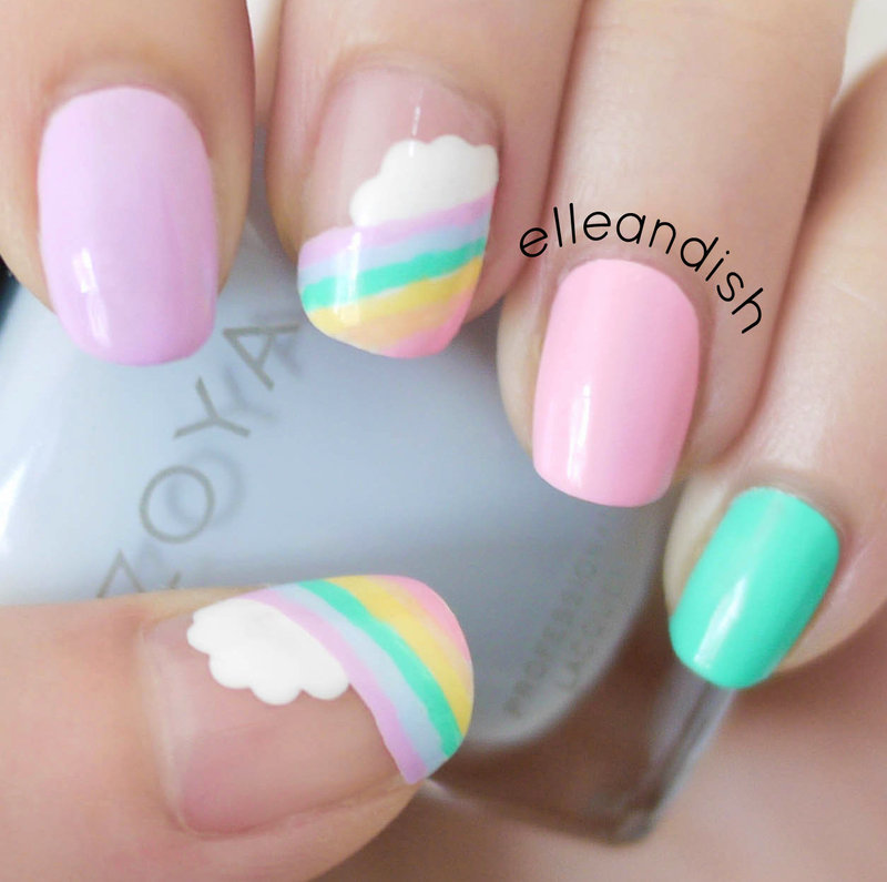 Easy Cloud Rainbow Nails nail art by elleandish