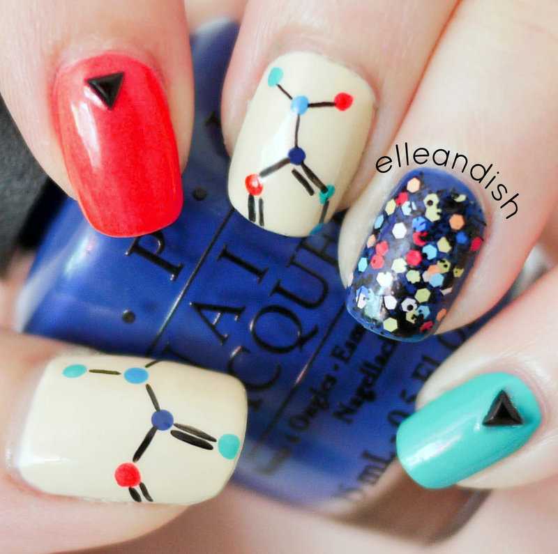 Nerdy Science Chemistry Nails (Freehand) nail art by elleandish