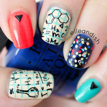 Nerdy Science Chemistry Nails (Stamping) nail art by elleandish