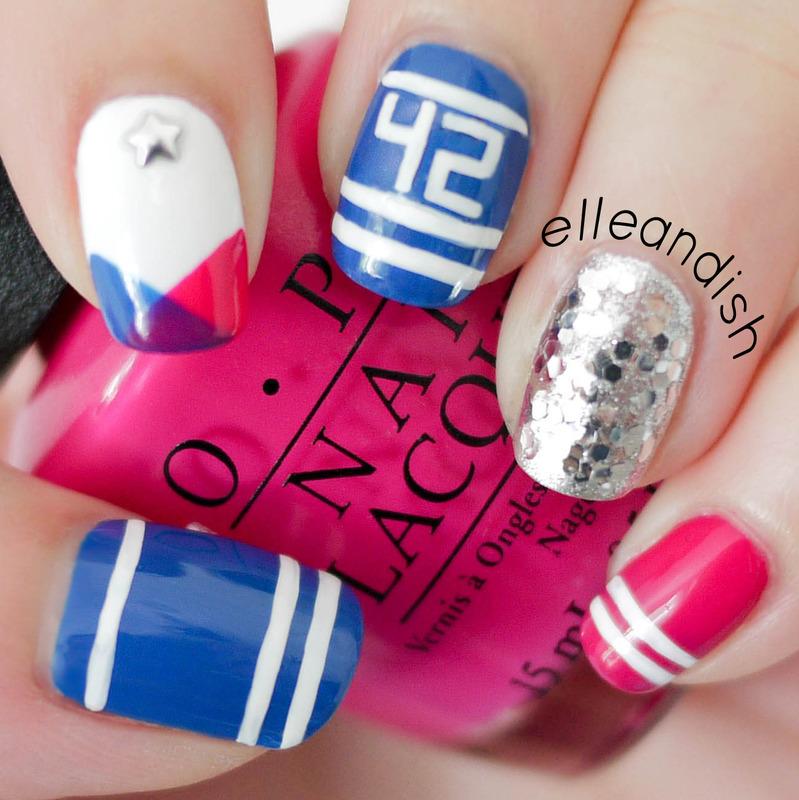 Sporty School Spirit Nails nail art by elleandish