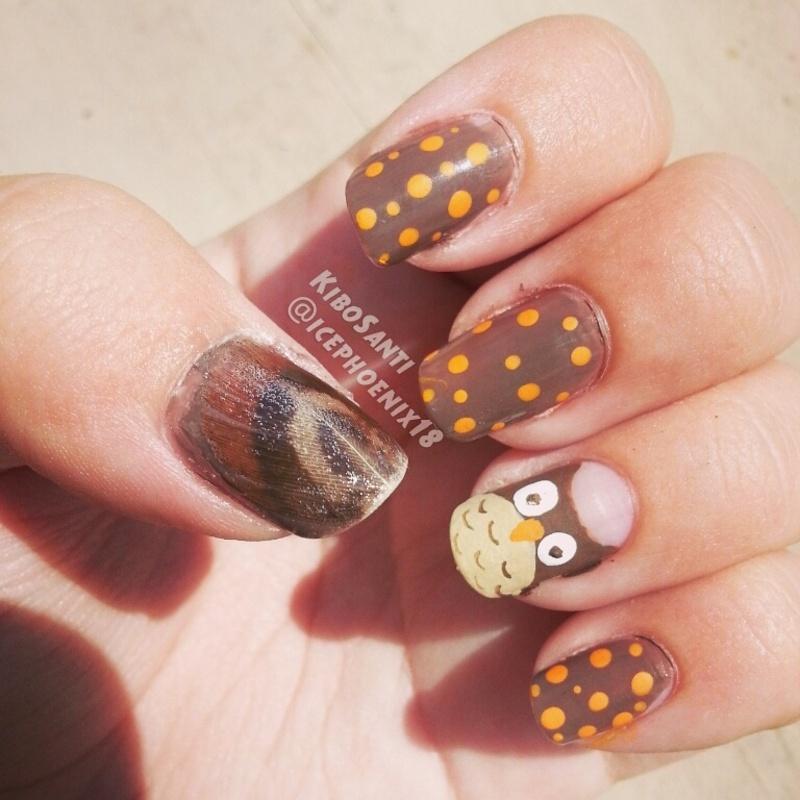September challenge day 27 Owls nail art by KiboSanti