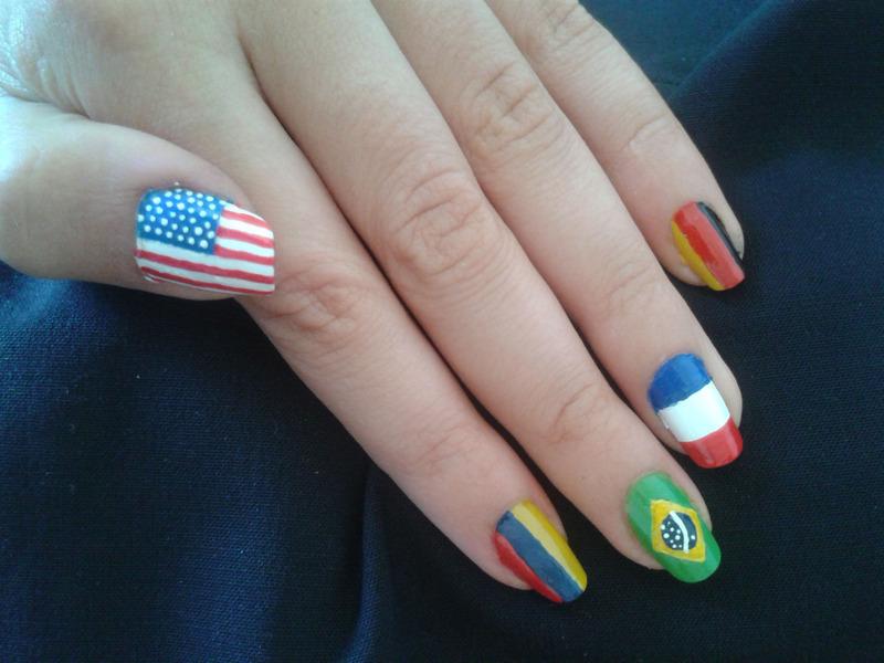 flags nail art by Bat-Chen