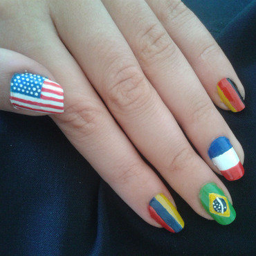 flags nail art by Bat-Chen