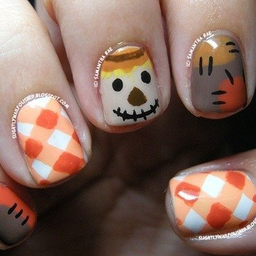 Autumn Scarecrow... nail art by Samantha Rae
