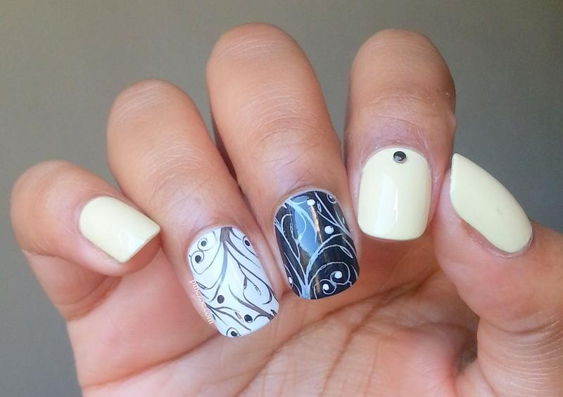 Pastel Yellow, Black & White Stamping nail art by Pinezoe