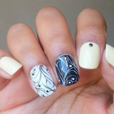 Pastel Yellow, Black & White Stamping nail art by Pinezoe