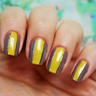 Yellow stripes nail art by Jane