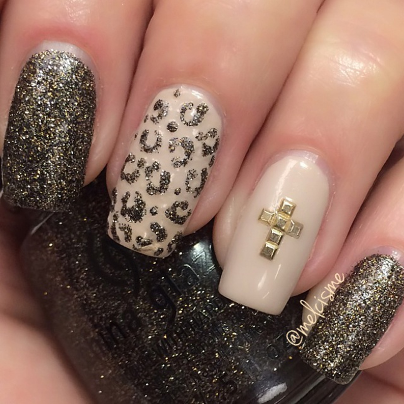 Cross accent nail nail art by Melissa