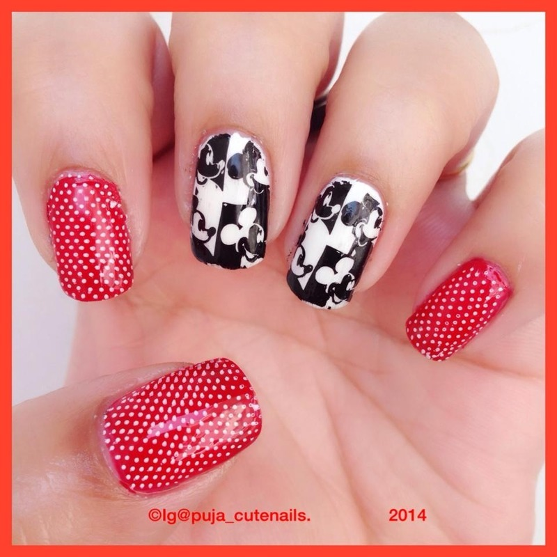 Mickey Mouse nails  nail art by Puja Malhotra