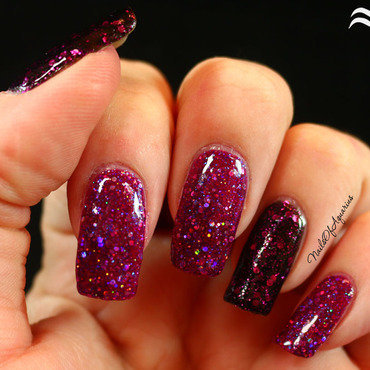Black Cat Lacquer Cosmic Cranberry and Dance Legend Rich Black 924 Swatch by Karolyn