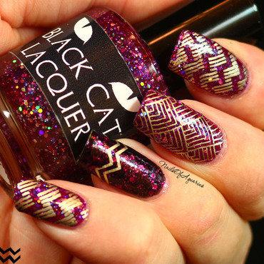 Geometric Glitz nail art by Karolyn