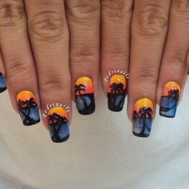 Tropical sunset nail art by Pedrinails