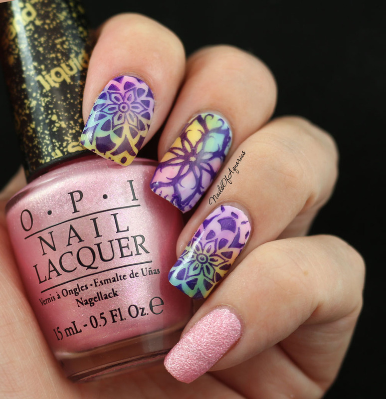 Watercolor Kaleidoscope nail art by Karolyn