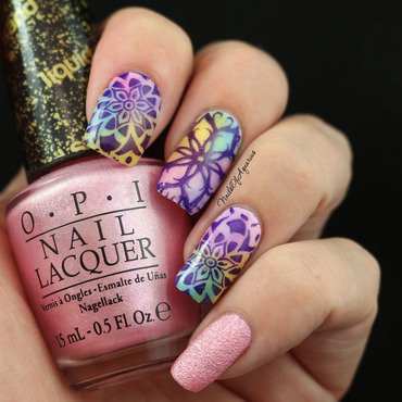 Watercolor Kaleidoscope nail art by Karolyn
