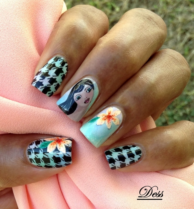 Floral houndstooth  nail art by Dess_sure