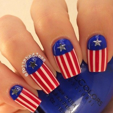 American Flag Inspired nail art by PolishedJess