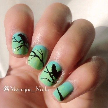 Birds nail art by Massiel Pena