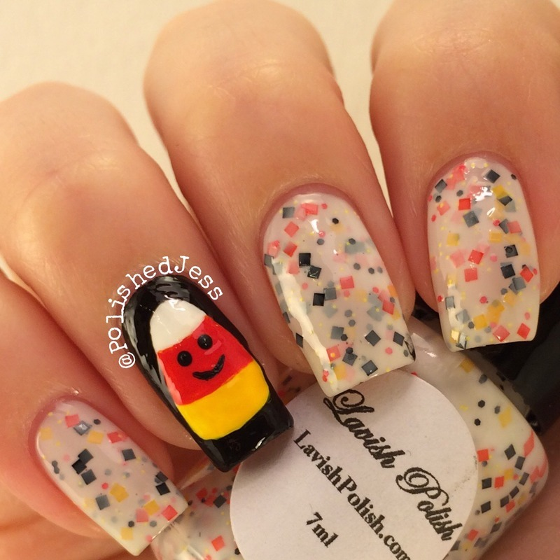 Candy Corn!  nail art by PolishedJess