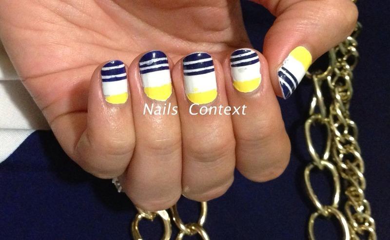Nautical Striped nail art by NailsContext
