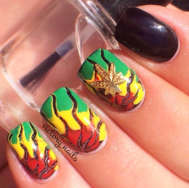 Jamaican drag marble nail art by Nicole - Nailpolis: Museum of Nail Art